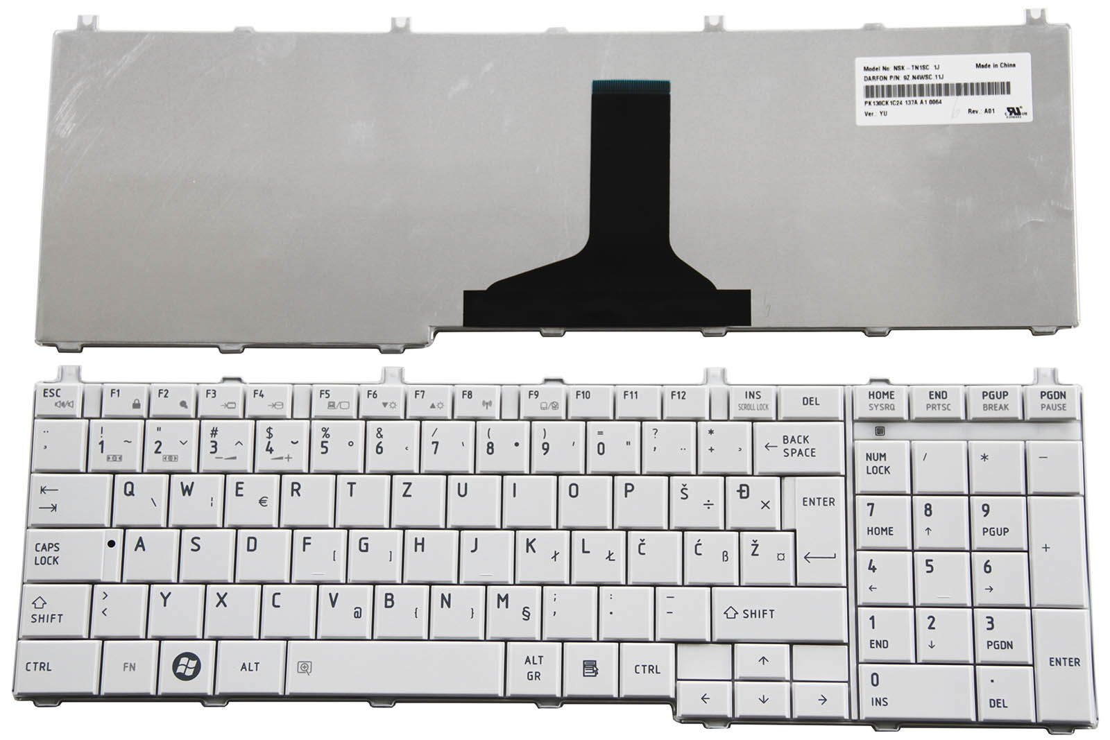For Toshiba Satellite C650 C650D C660 L750D L755 Keyboard HR CR SI YU SA White