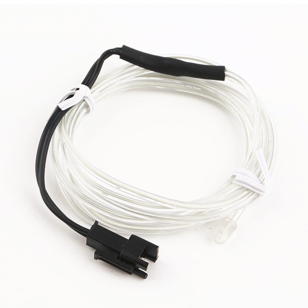 12V 2M White Car Interior EL-Wire Decor Fluorescent Neon Strip Cold ...