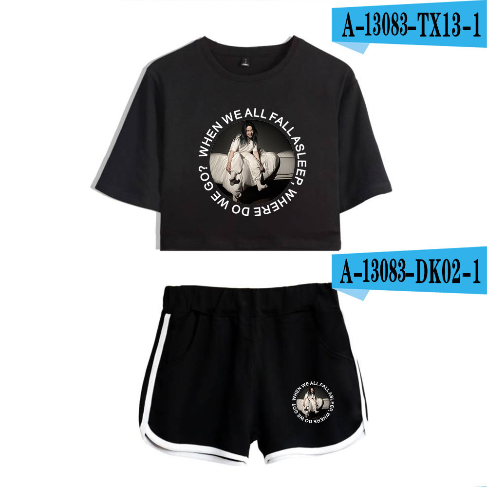 Billie Eilish Crop Top T Shirt Bauchfreies Kurzes Oberteil Mit Shorts Hotpants