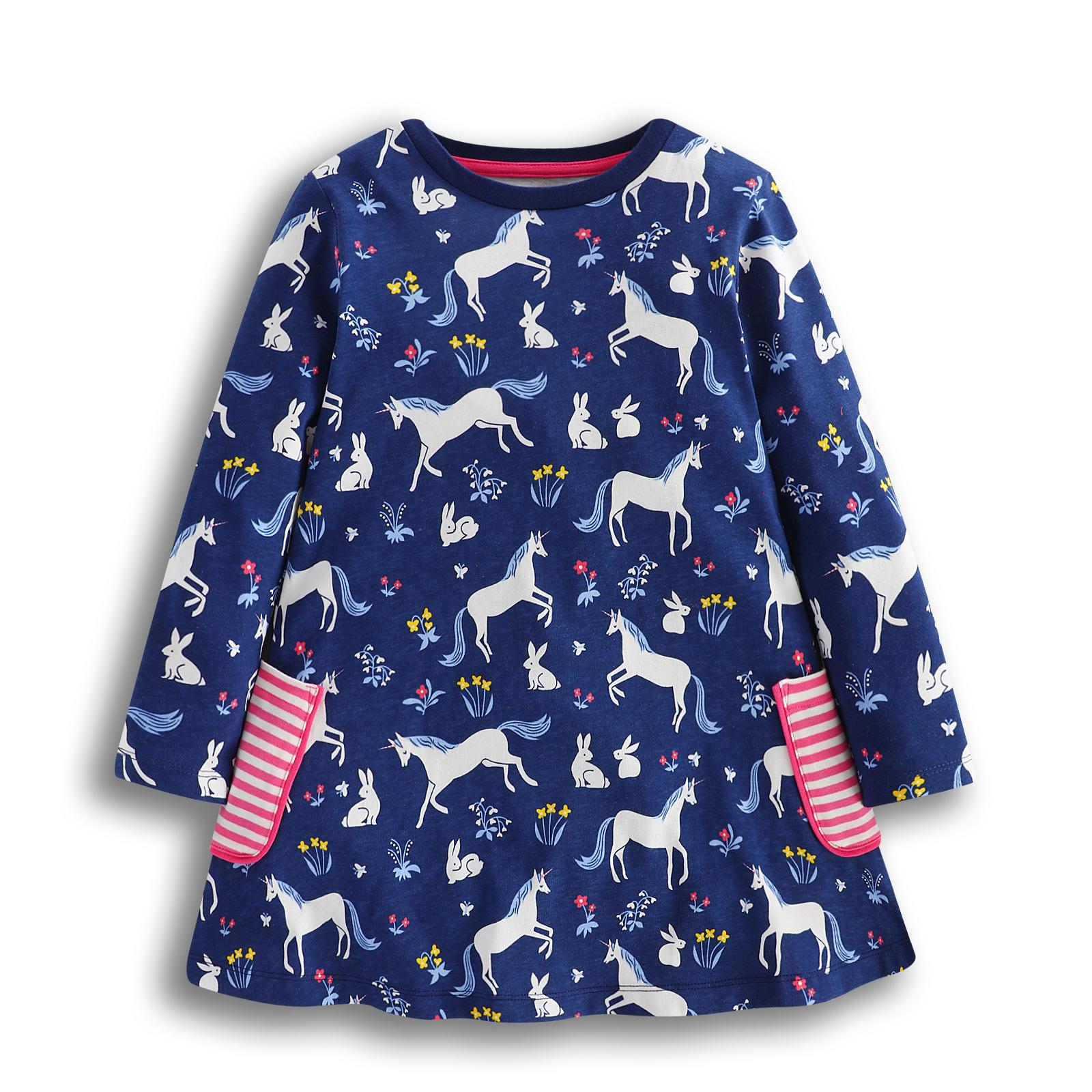 Kinder Mädchen Baumwolle Kleid T-Shirt Top Langarm Tunika ...