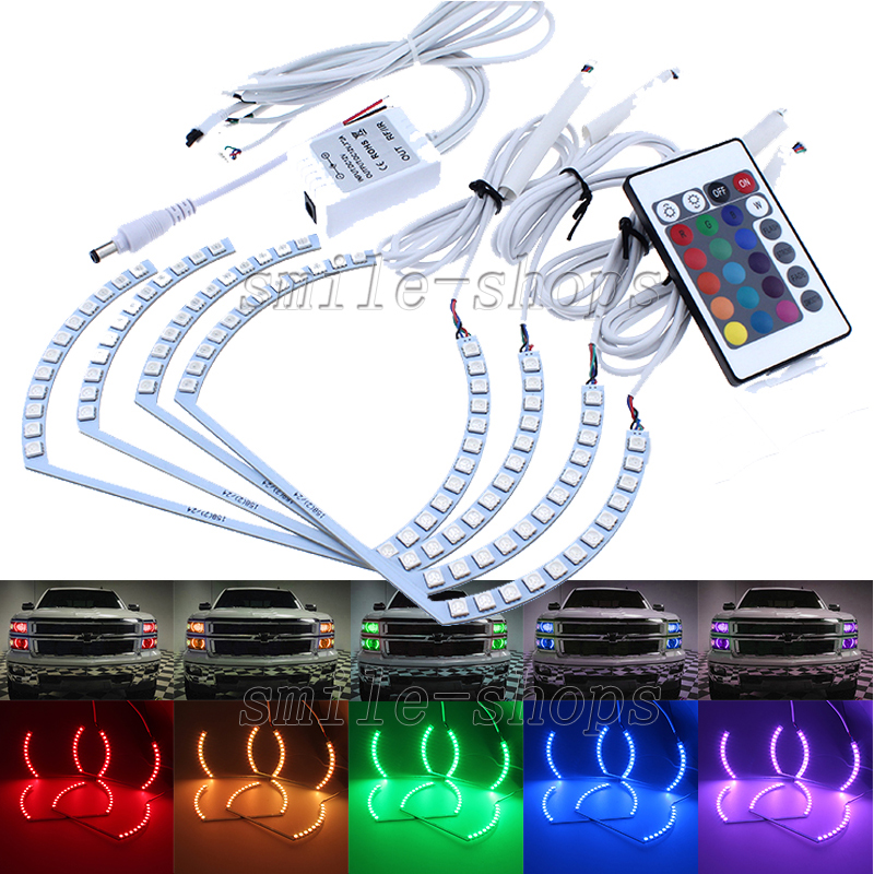 Multi-Color Angel Eyes LED RGB Headlight Halo Ring Kit For Chevy ...