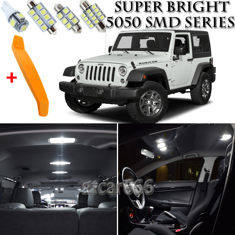 2x Jeep Wrangler Bright Xenon White LED Number Plate Upgrade Light Bulbs