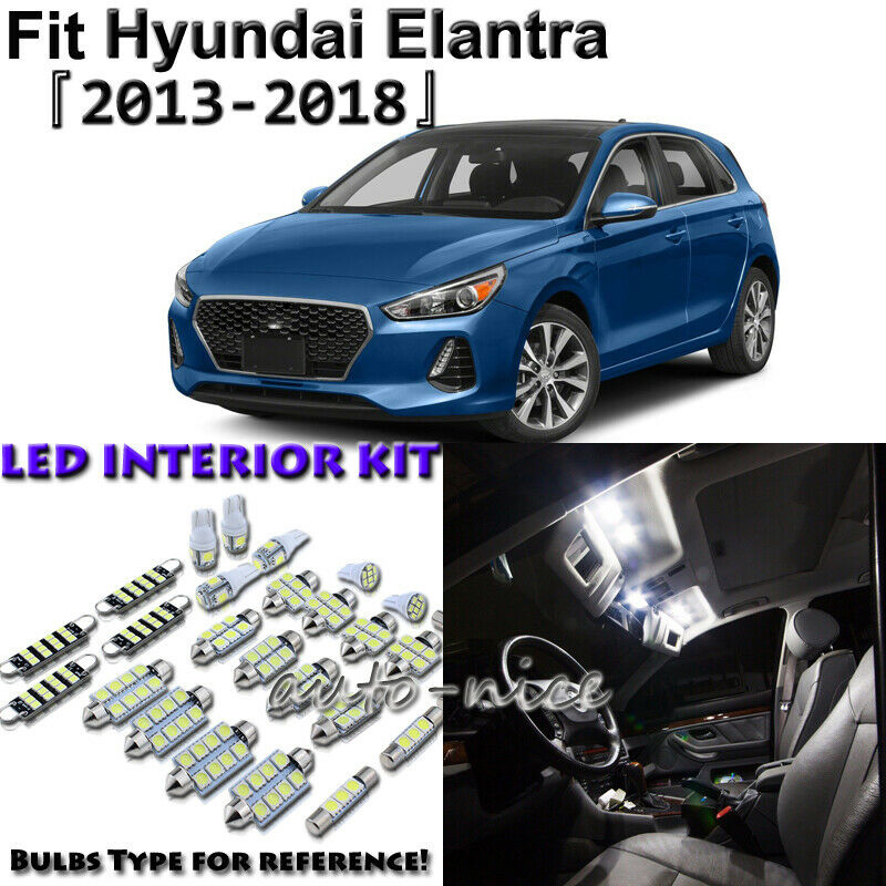 6 X White Interior LED Lights Package Kit For Hyundai