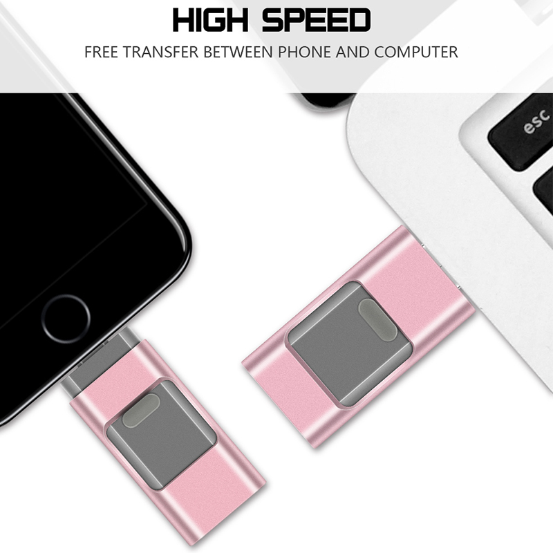 USB Flash Drive 3 in 1 External Storage Retractable USB
