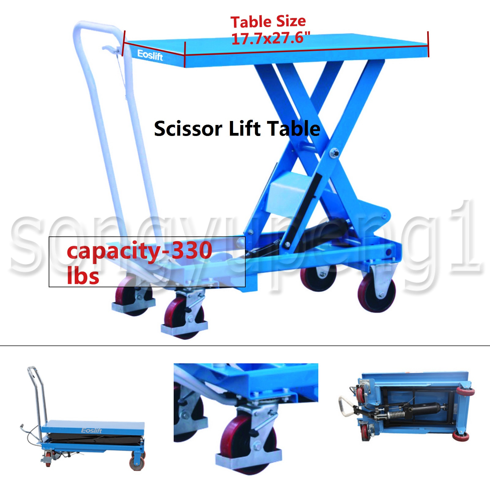 Eoslift TA15 Hydraulic Manual Scissor Lift Table Cart