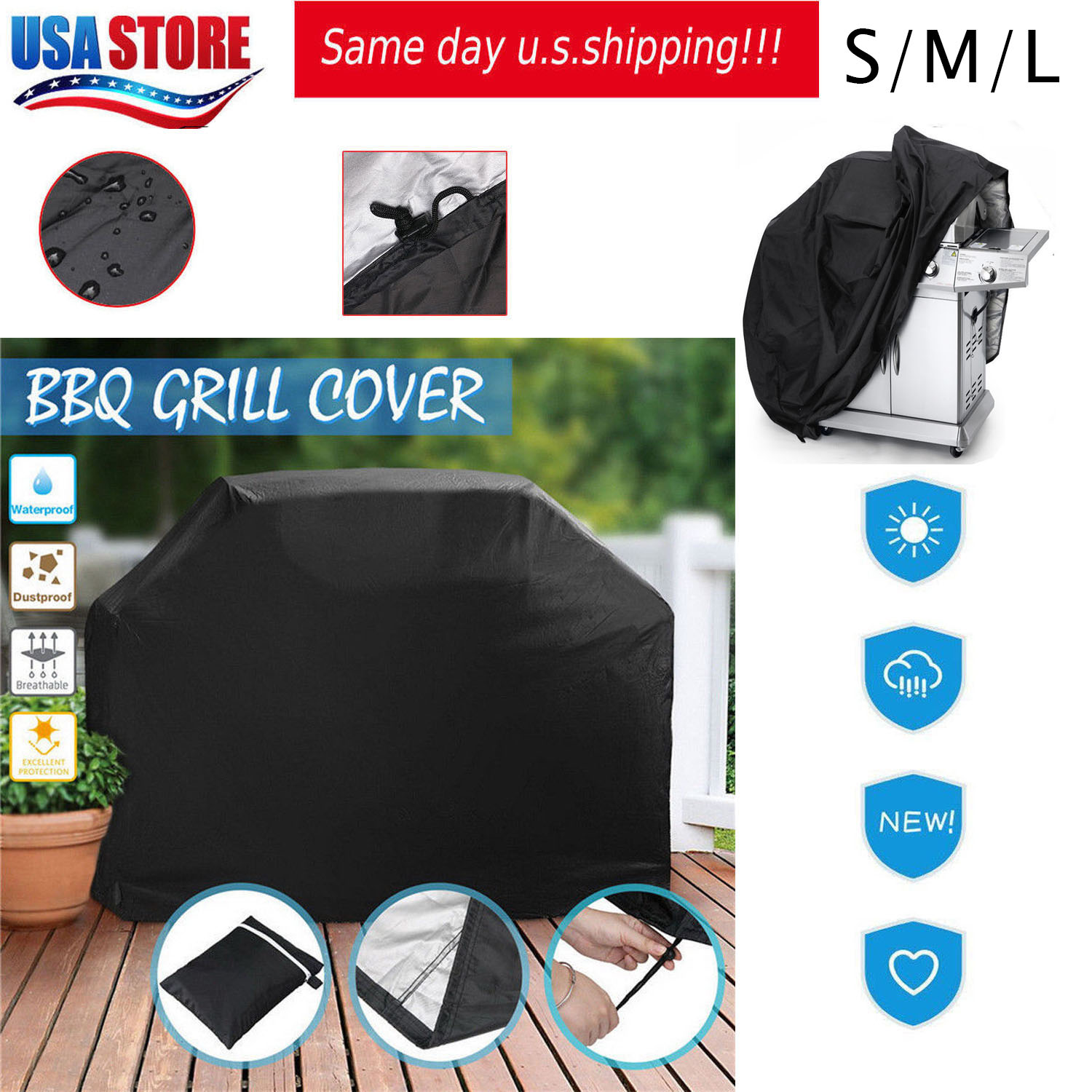 """BBQ Grill Cover 57/"""" 67/"""" 75/""""Gas Barbecue Waterproof Outdoor Heavy Duty Protection"""