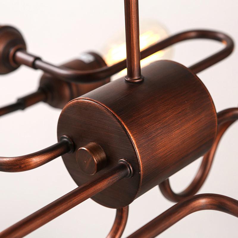 6-Lights Unique Copper Ceiling Light Fixture Industrial ...
