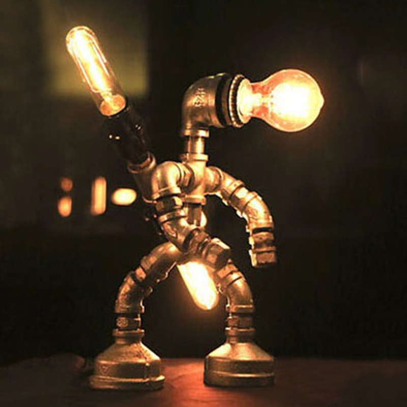 Industrial Robot Pipe Desk Lamp Plug In Table Reading