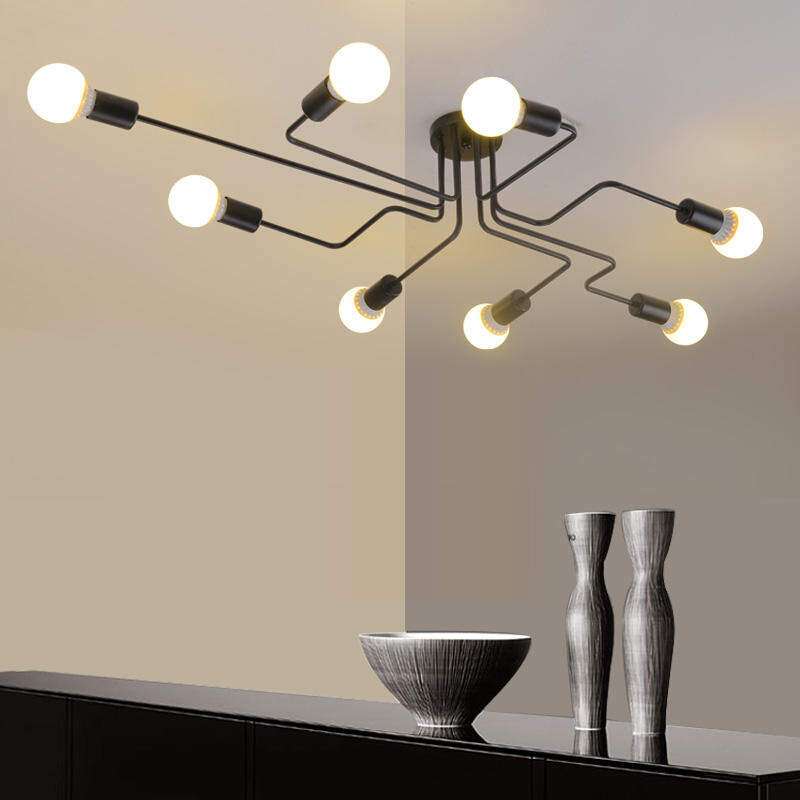 industrial edison bulb wrought iron large semi flush ceiling light