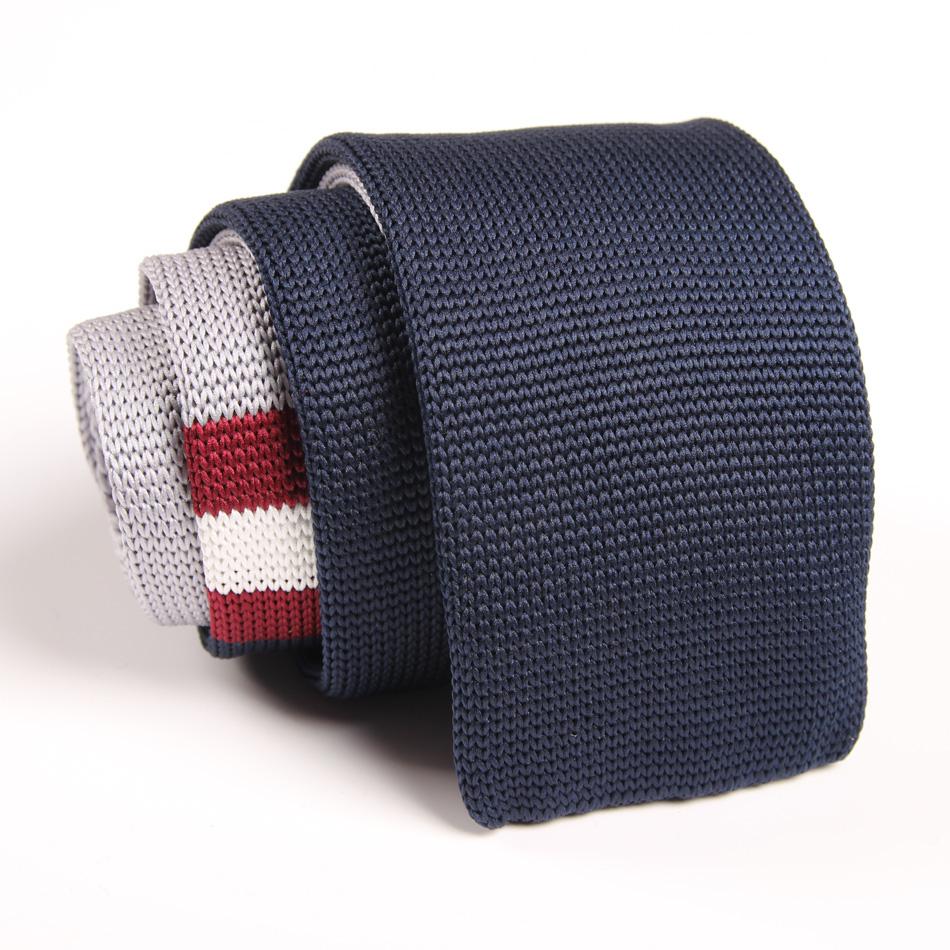Fashion Man Dark Blue Stripe Tie Knit Knitted Necktie Slim Skinny Party Woven