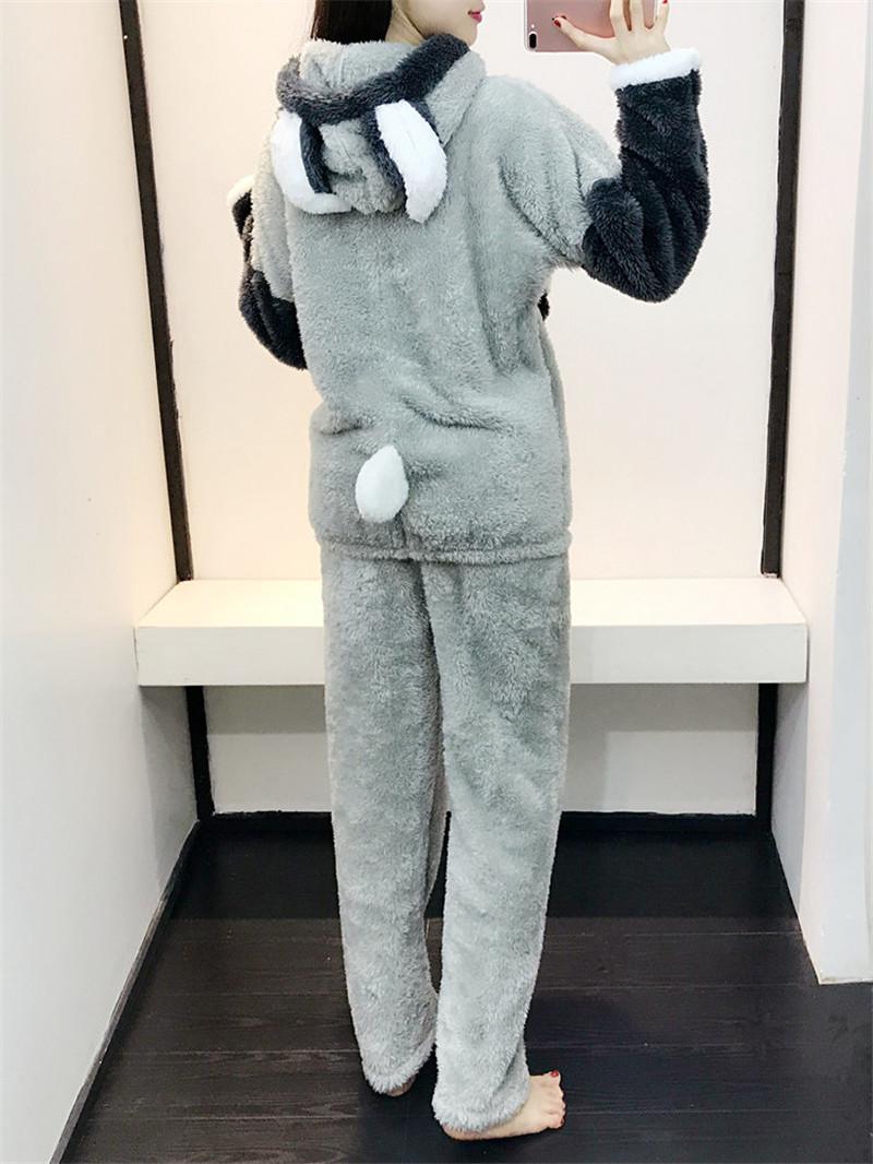 Conscientious Winter Sleepwear New 2pcs Women Cat Pajamas Warm Set Soft Bathrobe Cute Shorts Activewear Clothing, Shoes & Accessories