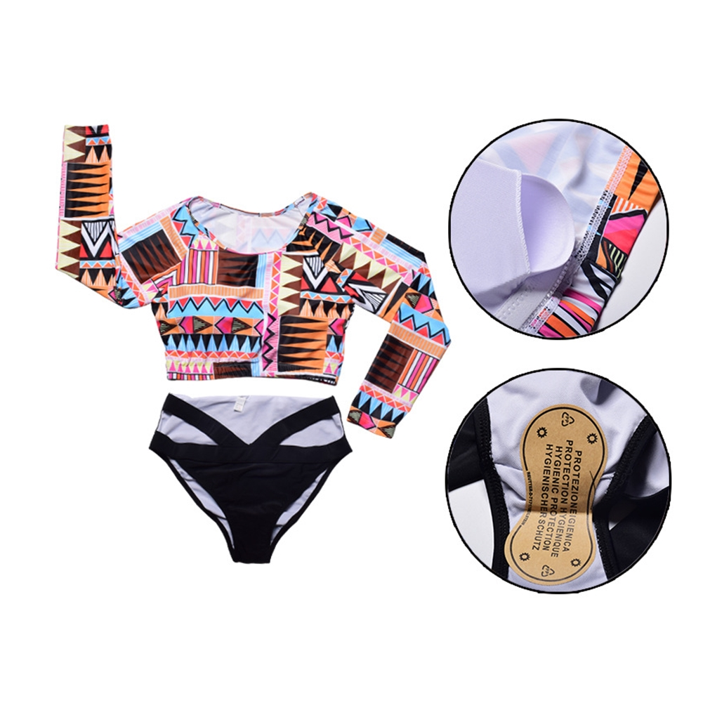 bd1143eb471a5 Charm Plus Size Long Sleeve Rash Guard Swimwear Split High Waist Swimsuit  Bikini