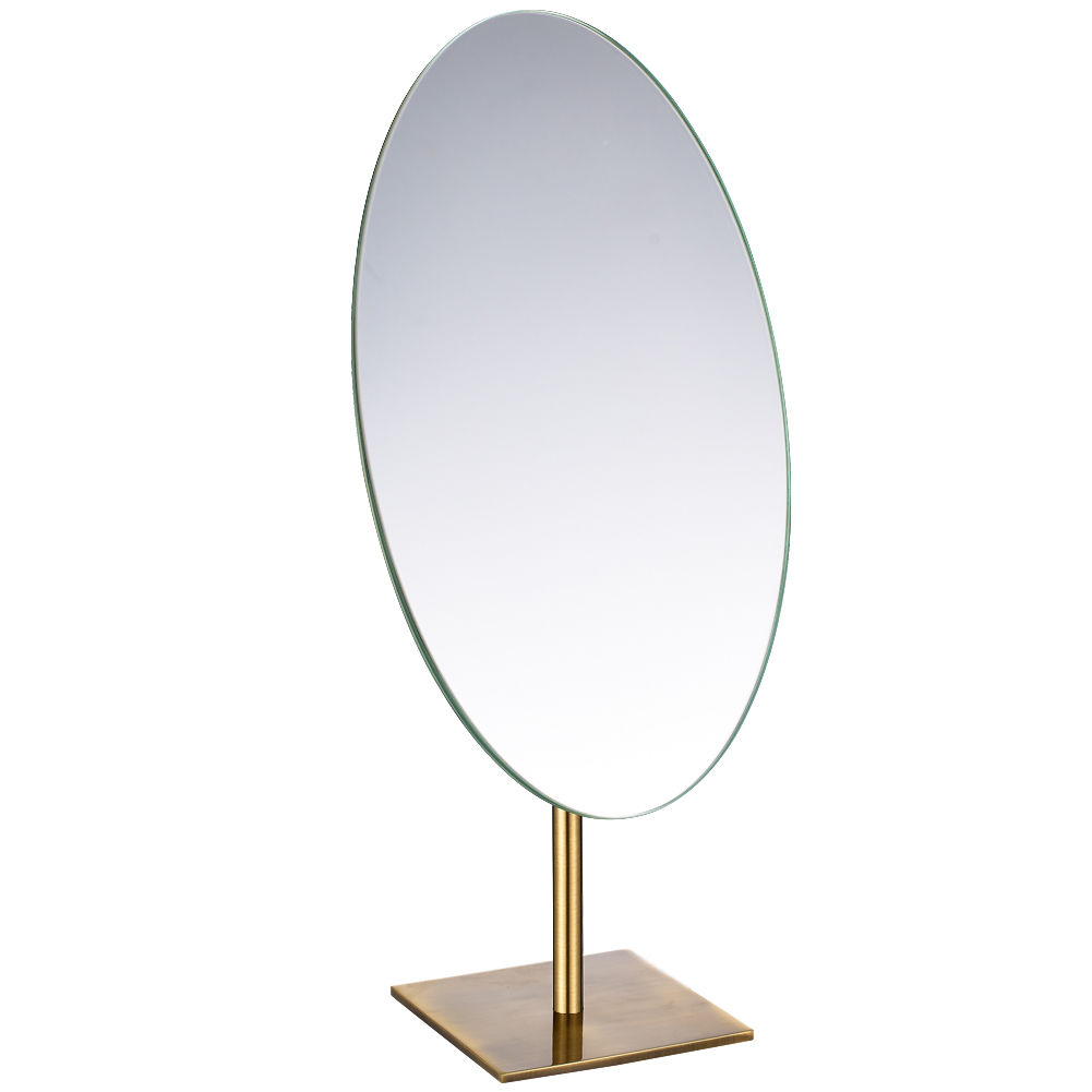 Oval Frameless Tabletop Makeup Mirror Standing On Dressing Table Antique Bronze Decent Gifts