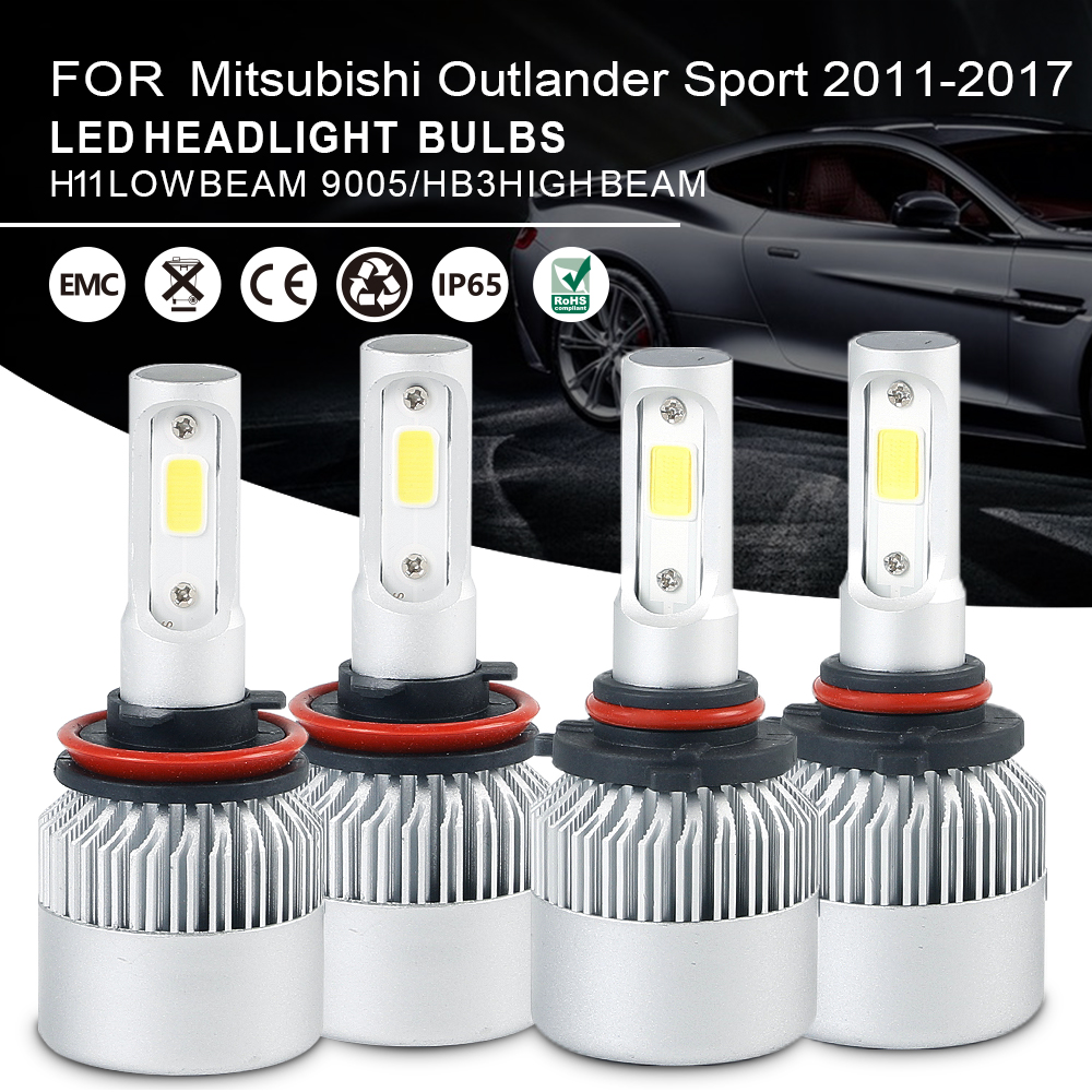 Combo LED Headlight Bulbs 9005 High + H11 Low Beam For