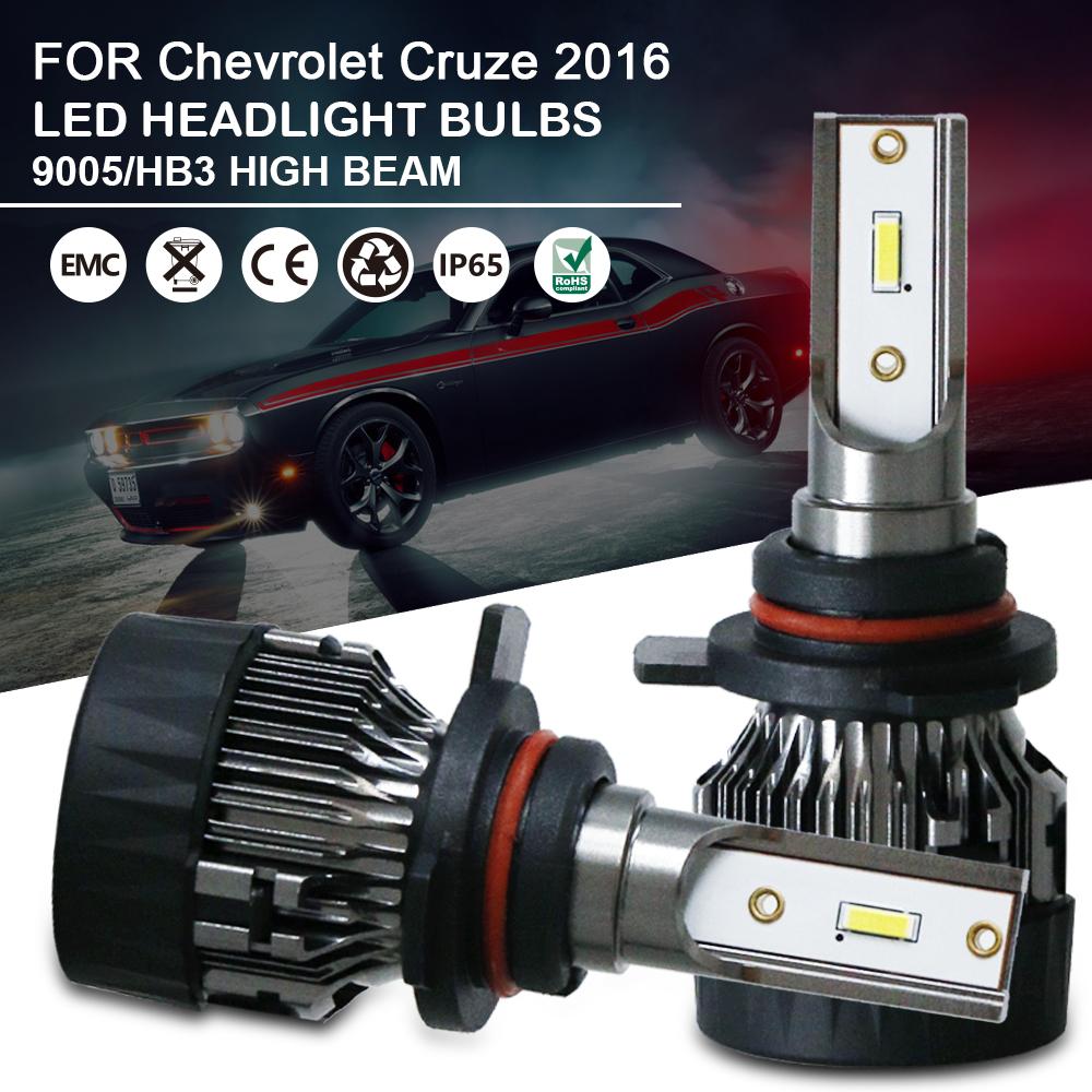 1Pair High Beam LED Headlight Bulbs Kit 9005 For Chevrolet