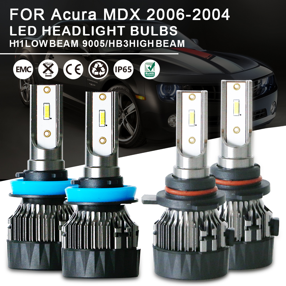 4pcs High & Low Beam LED Headlight Bulbs Kit 9005 H11 For