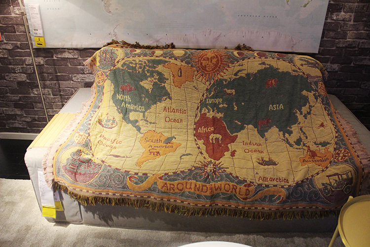 Fabulous Details About Cotton World Map Pattern Large Chair Sofa Throw Covers Blanket Wall Tapestry Ncnpc Chair Design For Home Ncnpcorg
