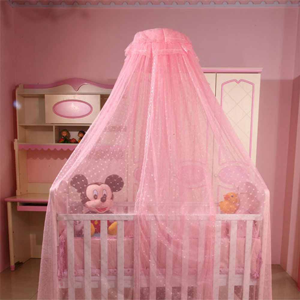 Toddler crib netting hanging dome baby mosquito net with for Baby crib net
