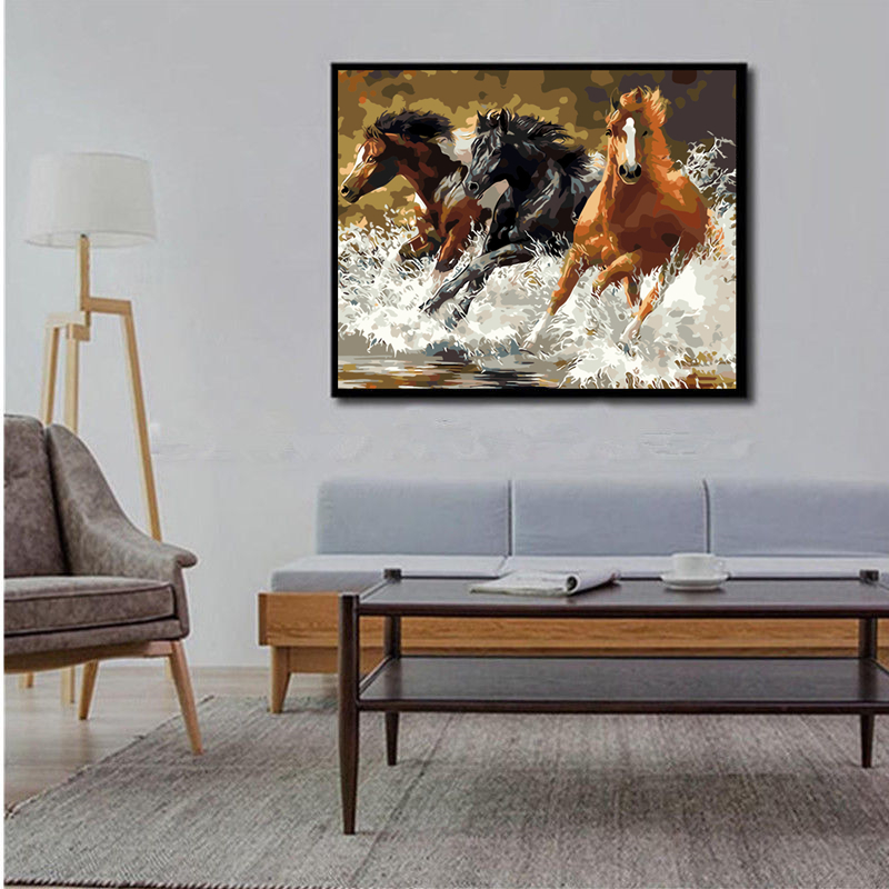 40*50CM DIY Acrylic Paint By Number Kit Oil Painting Wall Decor On Linen Horses