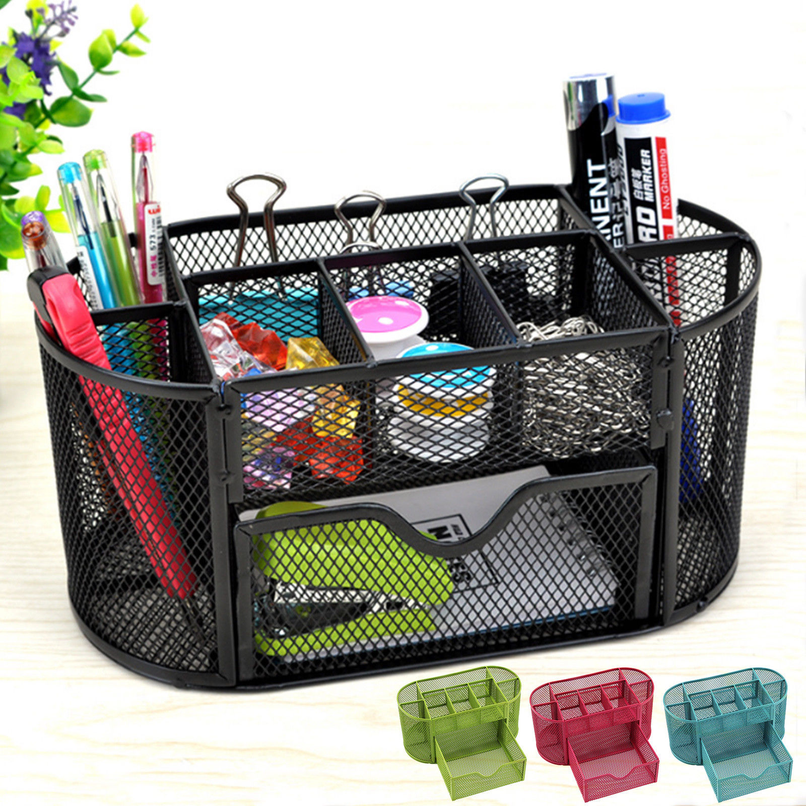 Hot Metal Wire Office Home Mesh Desk Organizer Stationary Tidy Trays Holder Pen