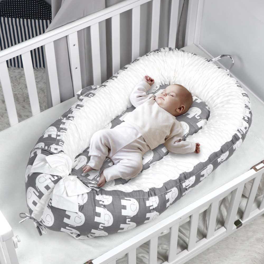 Newborn Co-Sleeping Cribs /& Cradles Lounger Cushion with Cotton Cover Blue Portable Travel Infant Bed Super Soft Simulation Uterus Baby Bassinet for Bed