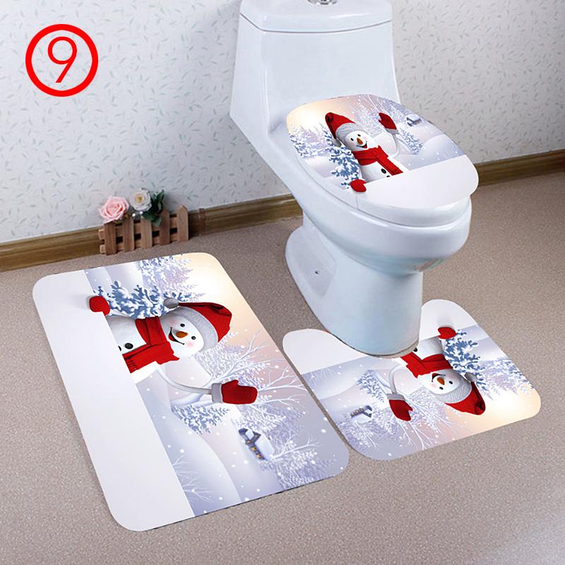 3PCS 3D Christmas Toilet Bathroom Rug Mat Foot