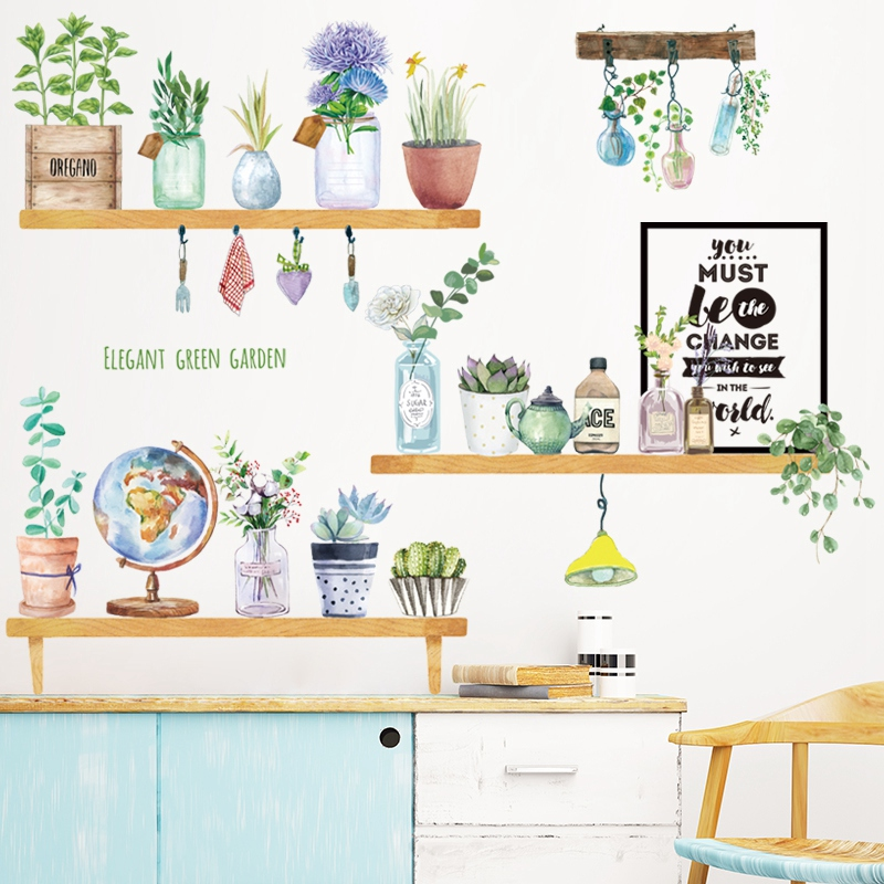 Flower Potted Plant Home Living Room Decor DIY Vinyl Wall Stickers Decal Mural
