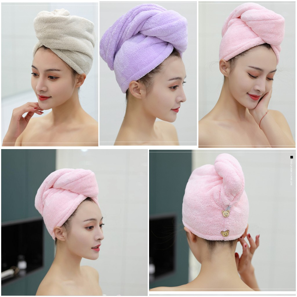 Coral Fleece Microfiber Towel Quick Dry Hair Drying Turban /&Wrap Hat Cap Bathing
