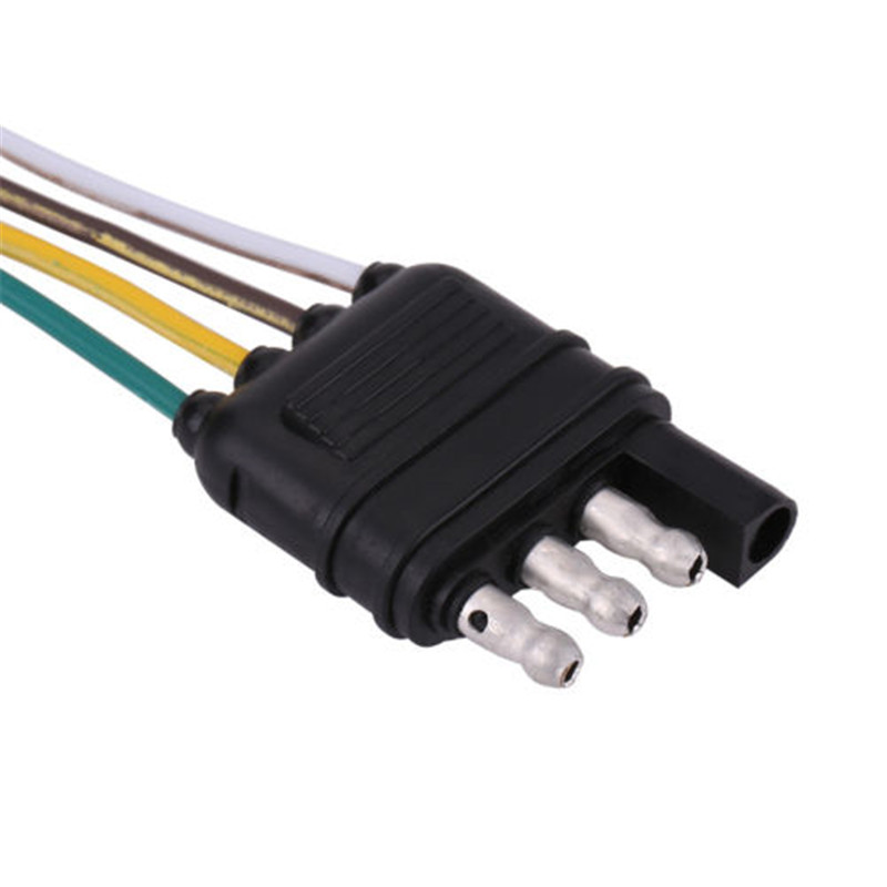 trailer wiring harness extension 4 pin male plug flat wire connector rh ebay com