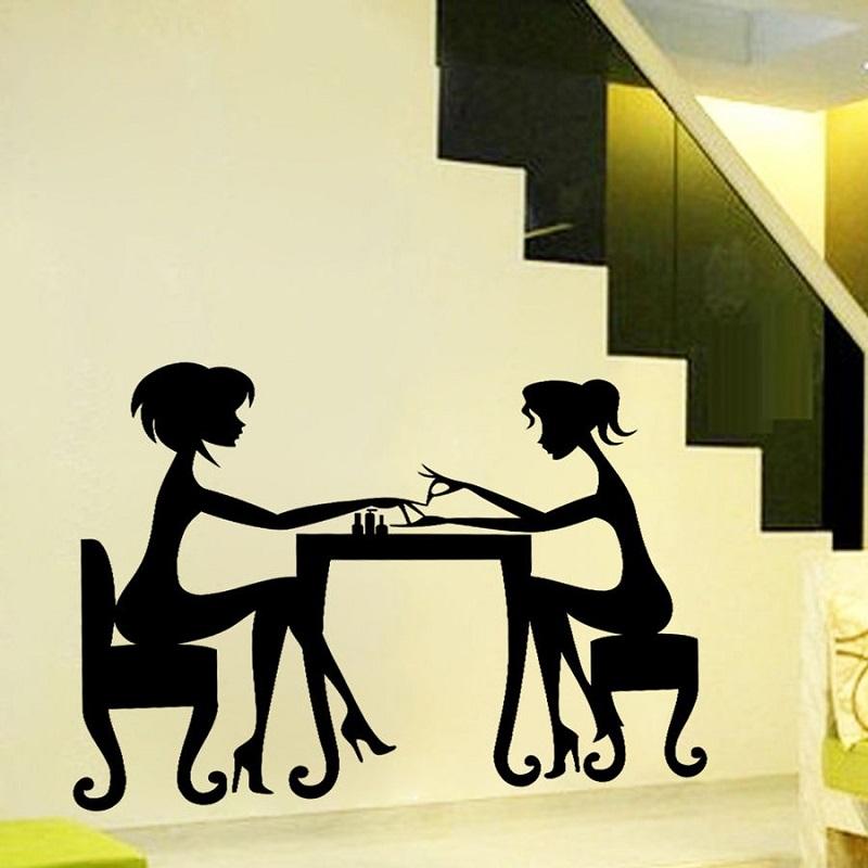 Wall Decals Beauty Hair Salon Nail Art Manicure Vinyl Sticker Home ...