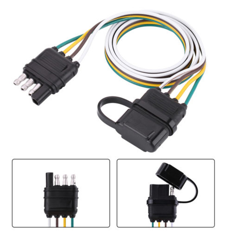 Trailer Wiring Harness Extension 4 Pin Plug Flat Wire Connector ...