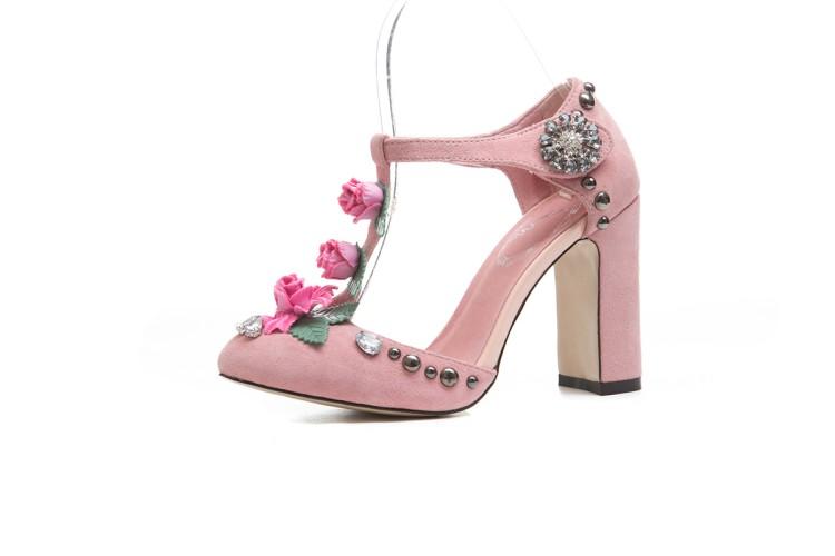 032d6151ec71 Women Shoes Ankle Strap Flower High Block Heel Sandals Party Dress Sweet  Fashion