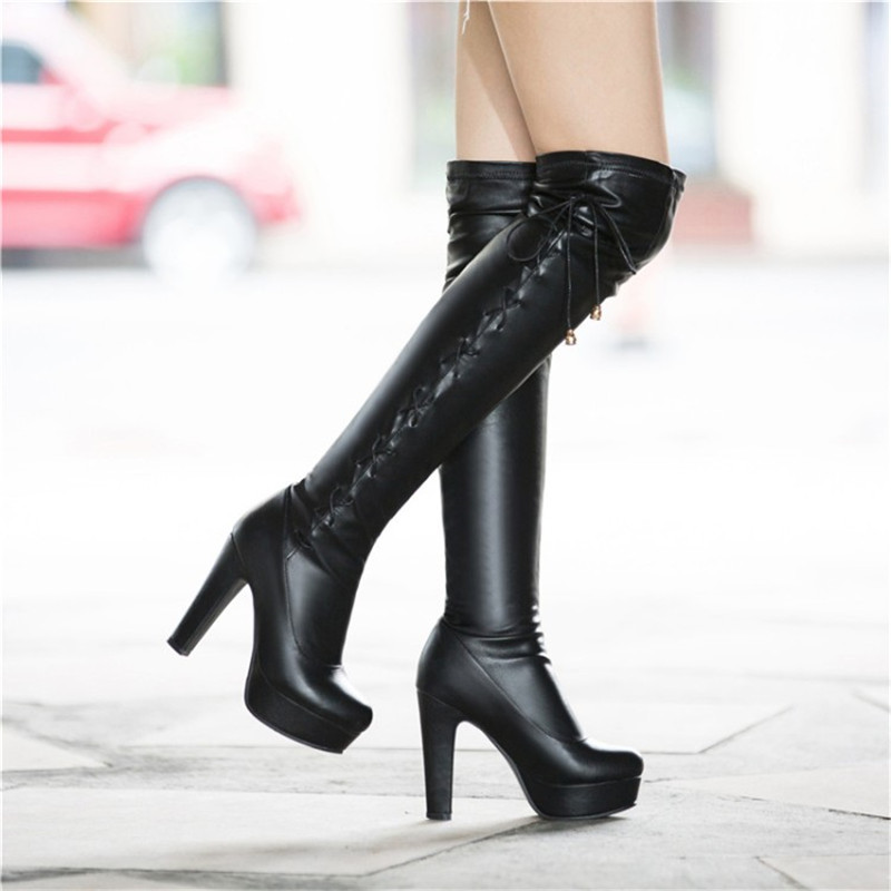 8eafa84dbda Details about Fashion Women s Over The Knee Boots Side Cross Strap High  Heels Platform Shoes