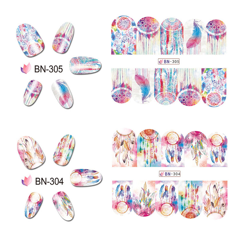 12 Styles New Mix Owl Dream Catcher Nail Art Stickers Water Transfer ...