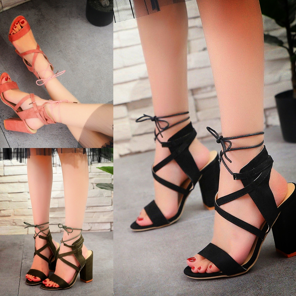 0aefd05ddbb Womens Ankle Strap Sexy Open Toe Sandals High Block Heels Party Shoes All  Size