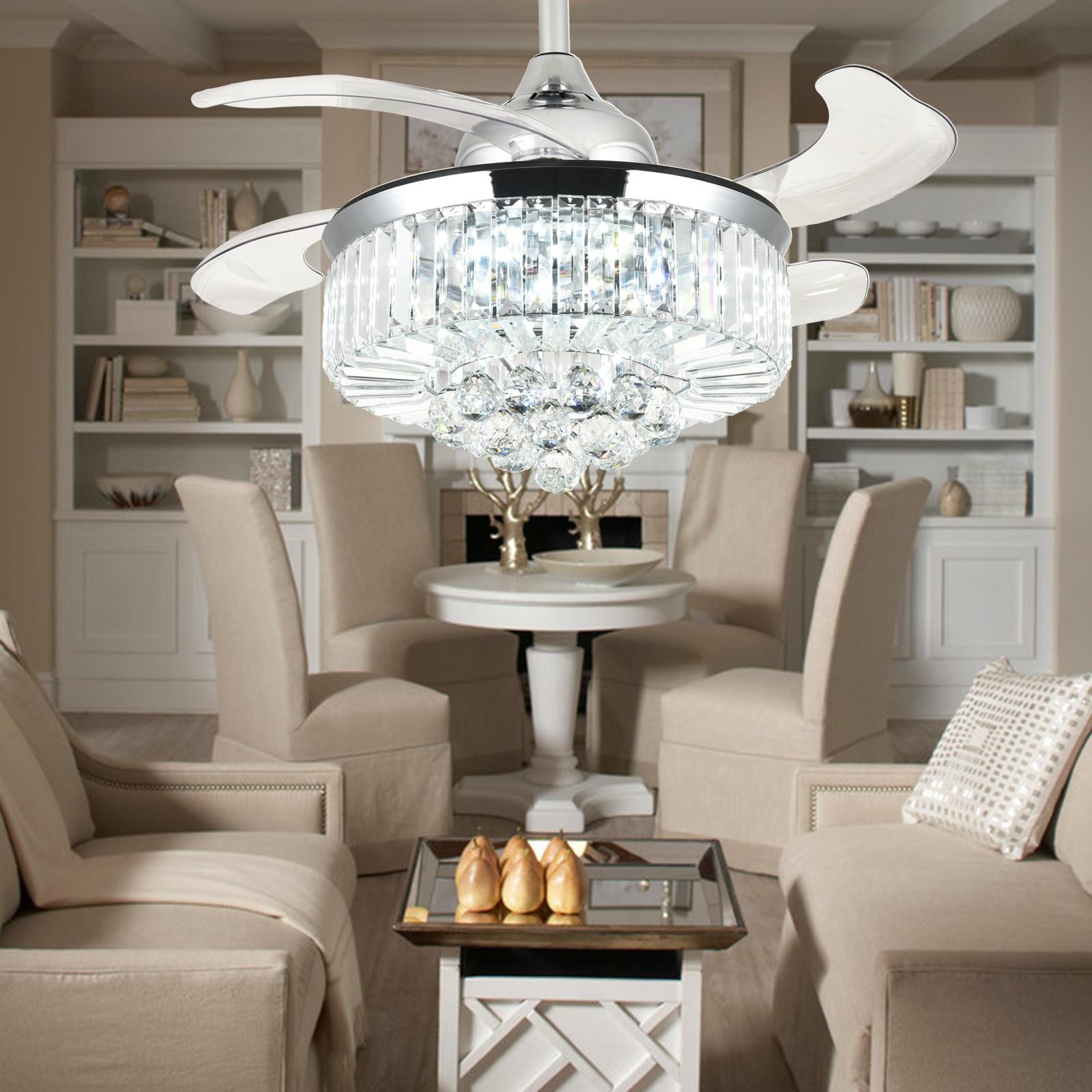 Modern Retractable Ceiling Fan Light Invisible Chandelier Fan Light Dimmable 36 Quot 713145629547 Ebay