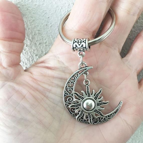 set new Crescent Moon Keychain//Moon Sun Key Chain//Sun Moon//Celestial 2pcs