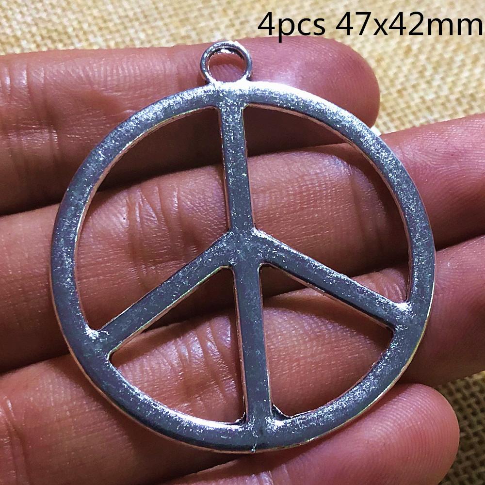 20 X PEACE SIGN SILVER COLOR TIBETAN METAL CHARMS//PENDANTS