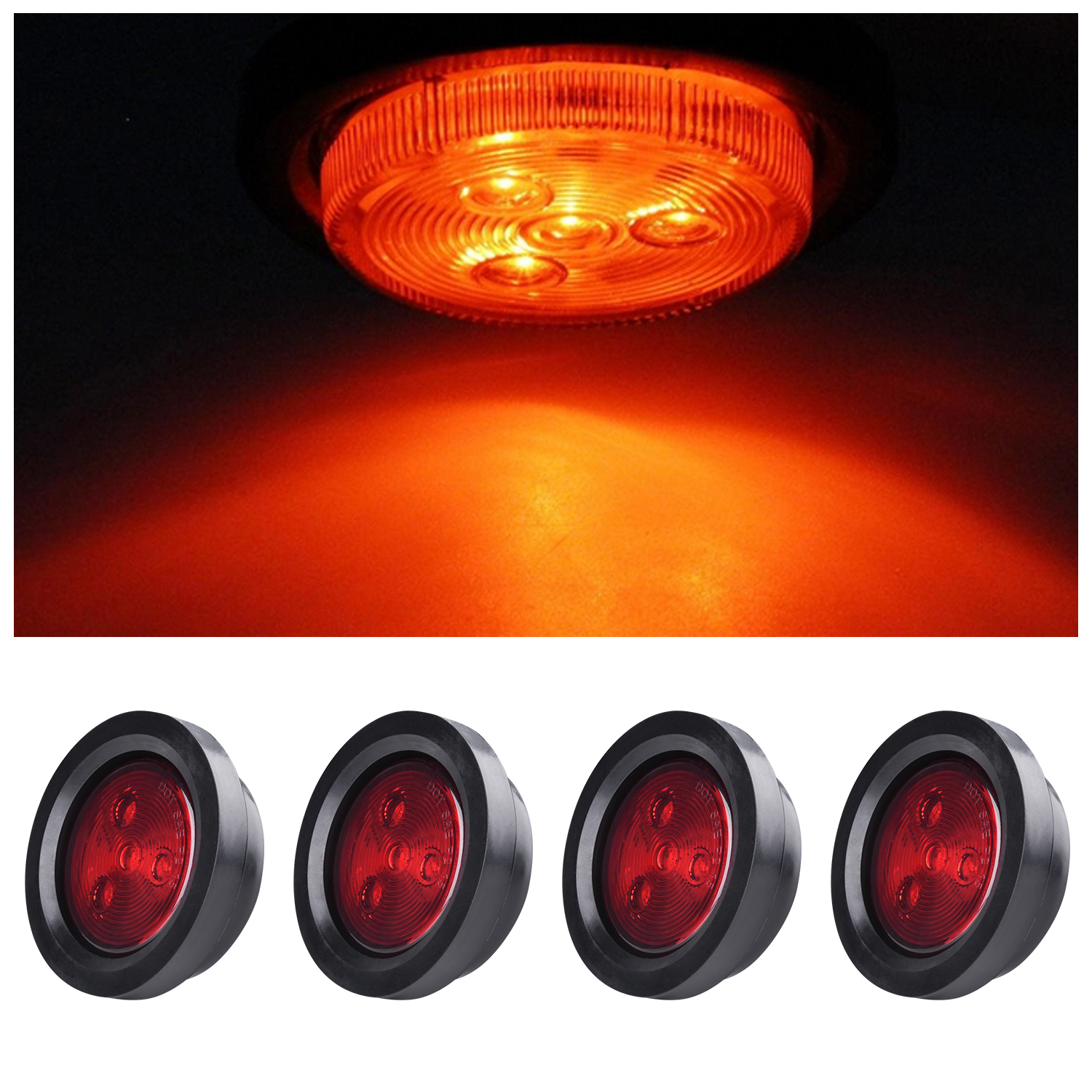 "4 Amber 4 Red 9Led Truck Trailer Clearance Lamp Side Marker Light Round 2/"" x 1/'/'"