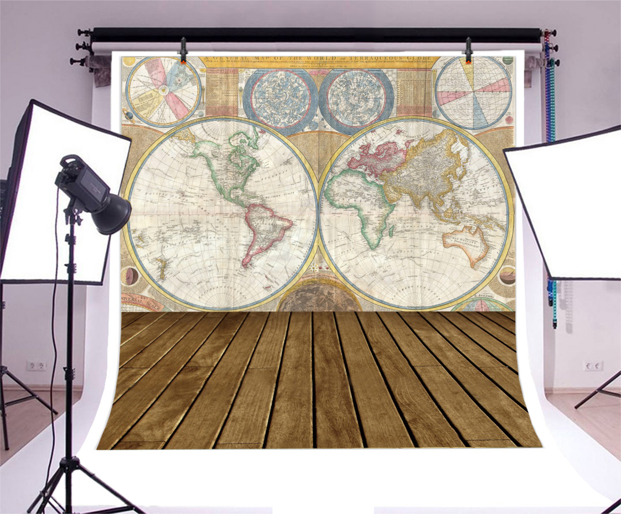 Antique World Map Board Vinyl Photography Backdrop Background Studio