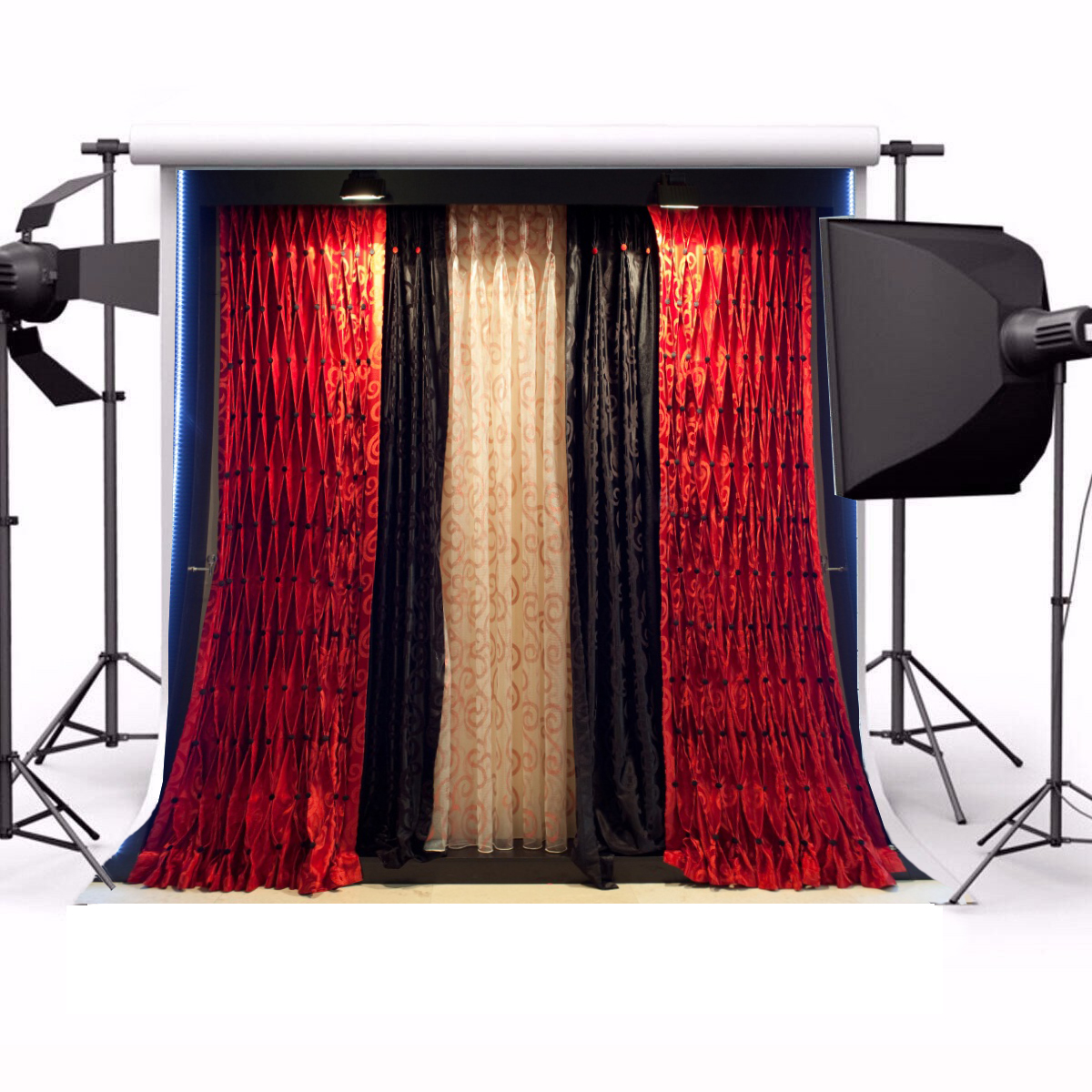 Colorful Bedroom Curtains Night Photo Backgrounds 10x10FT Vinyl