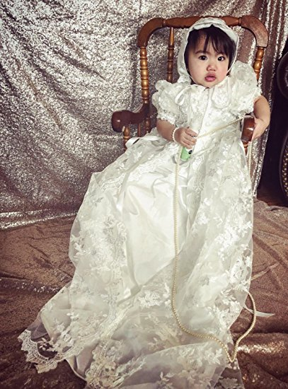 Formal Baby Christening Dresses Baptism Gown First Communion Party Head Flower