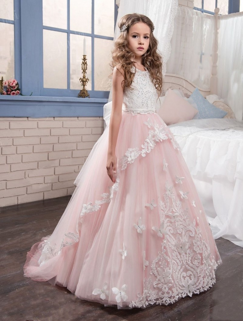 Details About Kids Princess Gown Lace Pink Flower Girl Dress Wedding First Communion Party