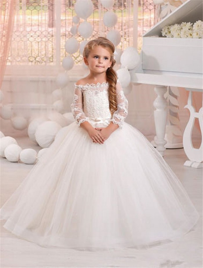 Pangent Kids One Neck Lace Flower Girl Dress Tutu Princess Gown ...