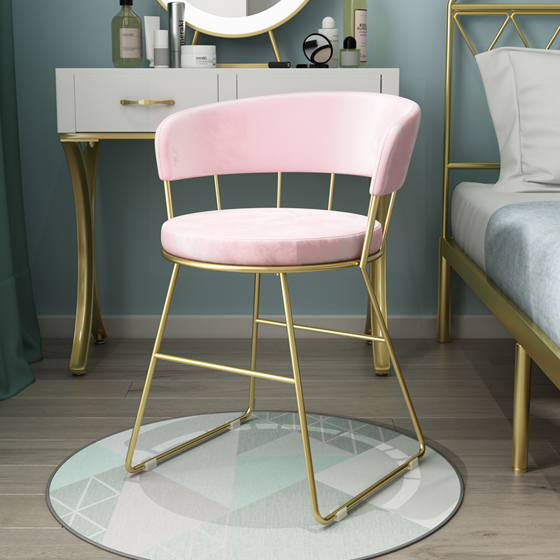 Modern Pink Velvet Round Cushion Gold