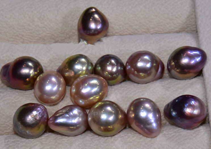 """15.5/"""" Black Peacock Freshwater Pearl Egg Round Beads 11-12mm #66281"""