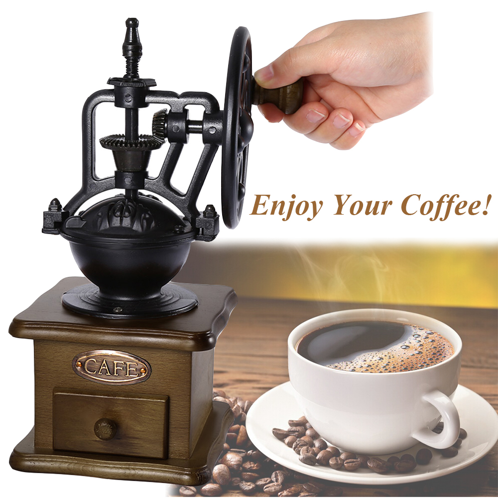 Details About Vintage Hand Coffee Grinder Manual Coffee Bean Grinding Mill Machine Retro Uk
