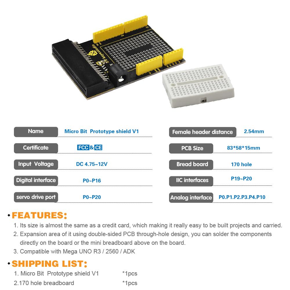 Keyestudio New Prototype Board V1   Mini Breadboard For