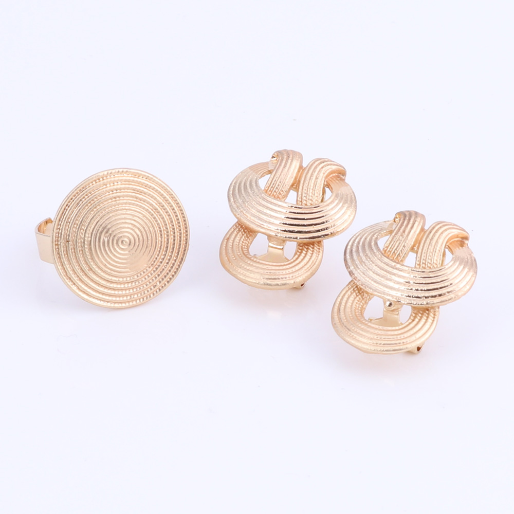 New-Design-Statement-Earings-Necklace-Bangle-Ring-Women-Gold-Plated-Jewelry-Set thumbnail 22