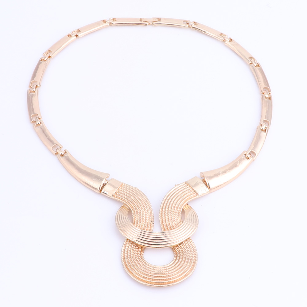 New-Design-Statement-Earings-Necklace-Bangle-Ring-Women-Gold-Plated-Jewelry-Set thumbnail 18